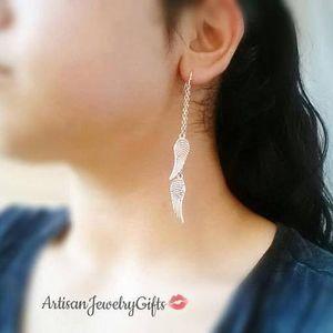 Hypo-Allergenic Silver Angel Wing Earrings